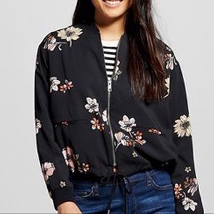 Black Floral bomber jacket large, who what wear